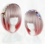 ATOZHair Synthetic Straight Short Bob Wig Mix-Colour Grey Pink Temperature Fibre with Bangs for Party Cosplay and Daily Use