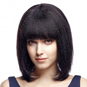 ATOZHair Fashion Yaki Wig Lace Front Short Bob Synthetic Wig Black kinky Straight High Temperature Fibre