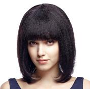 ATOZHair Fashion Yaki Wig Lace Front Short Bob Synthetic Wig Black kinky Straight High Temperature Fibre