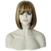 DDLBiz Soft Natural Medium Straight Bob Hair Full Lace Wigs Lace front wig