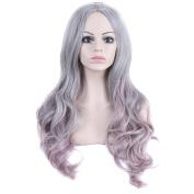DDLBiz Women Sexy Long Wavy Gradient Colour High Temperature Silk Fibre Full Wigs