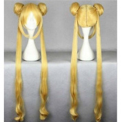 Heat Resistant 100cm Cute Golden Curly Wavy Women Halloween Cosplay for Sailor Moon Wigs +two Long Pigtails