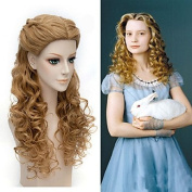 Cosplay Halloween Natural Centre Parting Wave Brown Colour Wig Heat Resistant fibre Alice Through the Looking Glass Movice Alice