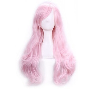 70 Cm Harajuku Anime Cosplay Wigs For Party Costume Women Ladies Long Full Wavy Curly Synthetic Hair Pink Halloween Wig