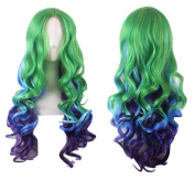 ATOZHair Halloween Cosplay Wig for Woman Multi-Colour Long Curly Wave Synthetic Mix Green Blue Purple