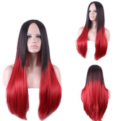 ATOZHair Fashion Long Straight Omber Black to Red Synthetic Wig High Temperature Fibre about 70cm