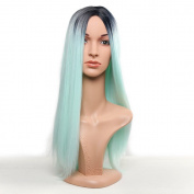 Secretgirl Synthetic Wigs for Women Long Straight Ombre Green Wigs Cosplay Halloween Wig