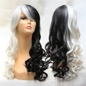 TLT Halloween Wig Women Long Curly Wavy Cosplay Wigs Black and White BU105