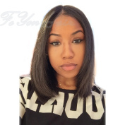 FeYon Straight Short Bob Full Lace Wig Brazilian Virgin Hair Glueless for Black Women Natural Colour 30cm