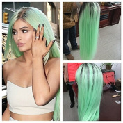 mint green hair Synthetic lace front mermaid wig for women silky straight with heat resistant fibre darg queen African American black and white women