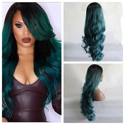 Long ombre black to green hair Synthetic lace front mermaid wig for women body wave with heat resistant fibre darg queen African American black and white women