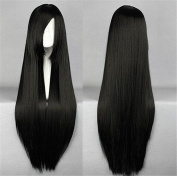 ATOZWIG Halloween Festival Party Show Long Straight Synthetic Wig Black High Temperature Fibre Wigs
