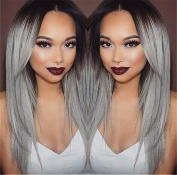 ATOZWIG Fashion Long Straight Brown to Grey Ombre Wig Heat Resistant Fibre Synthetic Hair Cosplay Wigs