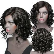 Synthetic Lace Front Wigs for Black Women Short Wavy L Part Lace Front Bob Wigs Natural Colour 30cm