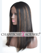 Chantiche Best Light Yaki Straight Silk Top Lace Wig with 9.5cm Invisible Middle Deep Parting Brazilian Human Hair Lace Front Wigs with Highlights for Black Women 46cm Off Black #1B/30