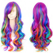 ATOZHair Colourful Rainbow Long Wave Women Wigs High Temperature Fibre Synthetic Omber Wig