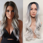 Secretgirl Fashion Long Wavy Hair Two Tones Ombre Black Grey Wig Synthetic Wigs for Women Cosplay Wig Heat Resistant
