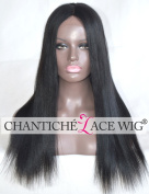 Chantiche Glueless Coarse Yaki Silk Top Human Hair Lace Front Wigs with 9.5cm Invisible Middle Deep Parting Best Indian Remy Human Hair Replacement Wigs for Black Women 50cm off Black #1B