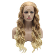 Lushy Cheap Long Natural Wavy Brown Root To Light Blonde Ombre Wigs Half Hand Tied Heat Friendly Synthetic Hair Lace Front Women Wigs