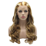 Lushy Cheap .  Long Natural Wavy Three Tone Blonde Mix Colour Wigs Half Hand Tied Heat Resistant Synthetic Hair Lace Front Women Wigs