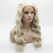 Lushy Cheap Long Natural Wavy Light Blonde White Mix Wigs Half Hand Tied Heat Friendly Synthetic Hair Lace Front Women Wigs