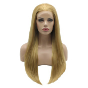 Lushy Stylish Straight Long Silky Four Tone Honey Blonde Mix Colour Wigs Half Hand Tied Heat Friendly Heavy Density Synthetic Hair Lace Front Women Wigs