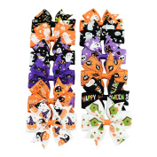 12 Pcs 3 Inchs of Colourful Halloween Different Kind of Hairclips Pattern Grosgrain Ribbon Butterfly Hair clips Hairpin