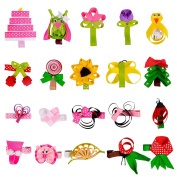 Imanom 20Pcs Baby Girl Hair Bows,Animals and Fruits Shape Hair Clips For Teens Baby Girls Babies Toddlers