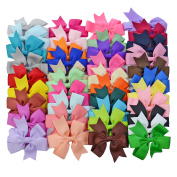 LCLHB 40PCS Babies Girls Grosgrain Ribbon Hair Bows Boutique Pinwheel Alligator Hair Clips 7.6cm Size and 40 Colours