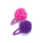 Peppercorn Kids Girls 2PC Tulle Pompom Hair Clip