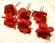 Small Red Hair Flower U Shaped Hair Pin Set of SIX 6