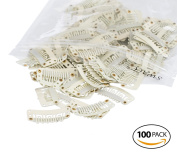 SWACC 100 Pcs U Shape Metailic Snap Clips ins for Hair Extension Hairpiece DIY Snap-Comb Wig Clips with Rubber