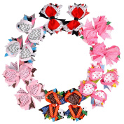 Imanom 12Pcs Baby Girl Hair Bows,Ribbon Design Hair Clips For Teens Baby Girls Babies Toddlers