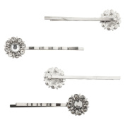 Lux Accessories Silver Tone Special Occasion Flower Stone Bobby Pin Set