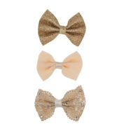 Lux Accessories Peach Gold Tone Glitter and Lace Romantic Bow Pack