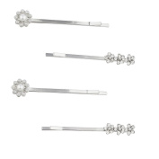 Lux Accessories Silver Tone Rhinestone and Pearl Floral Flower Hair Pin Set 4PC