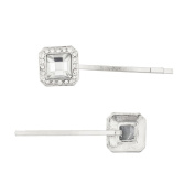 Lux Accessories Silver Tone Special Occasion Square Stone Bobby Pin Set