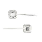 Lux Accessories Silver Tone Special Occasion Square Stone Bobby Pin Set
