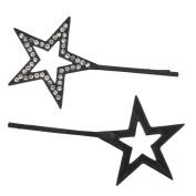 Lux Accessories Jet Black Pave Rhinestones Celestial Stars Bobby Pin Set