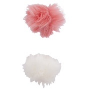 Lux Accessories Pink and White Fabric Pom Pom Hair Clip Set