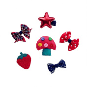 6Pcs Six Different Style Mini Hair Clip Baby Toddler Girls Cute Hair Clip Set-Model 3