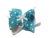 Blue and White Polka-dot Glitter Snowflake Hair Bow