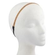 Lux Accessories Peach and Gold Tone Bugle Bead Headwrap Elastic Stretch Headband