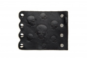 Hair Glove 10cm Black Leather Embosses Skulls 34010