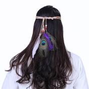 AWAYTR Bohemian Indian Hippie Tassel Hair Rope Wood Beads Feather Headbands Hair Ornaments Hair Bands