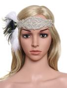 Babeyond Women's 1920 Headpiece Peacock Feather Flapper Headdress Art Deco Wedding Headband Ribbon Headpiece Free Size