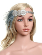 Babeyond Women's Flapper Hair Band 1920 Headpiece Feather Hair Accessories Vintage Inspired Stunning Crystal Design Free Size