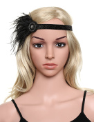 Babeyond Women's Crystal Feather Headband 1920s Headpiece Black Feather Hair Accessories Beaded Band Free Size