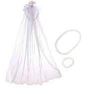 kilofly Girls Rhinestone Tiara Wedding Veil Headband + Faux Pearl Jewellery Set