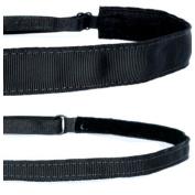 Mavi Bandz Adjustable Non-Slip Fitness Headbands Plain Black Grosgrain 2 Pack
